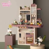 Infant Shining 93cm Kids Kitchen Toys 65pcs Pretend Play Simulation Kitchen Children's Cooking Toys 2 4 Years Kitchen Toys Set