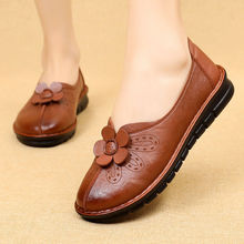 Women's Leather Casual Slip on Flowers Flats Loafers Lady Cozy Slipper Female Walking Driving Soft Moccasins