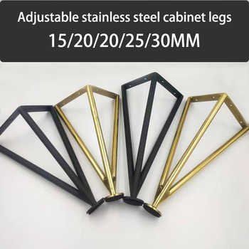 4Pcs/Set Stainless Steel Furniture Table Legs 15/20/25/30CM Tapered Feet For Sofa Cupboard Cabinet TV Furniture Leg Feet