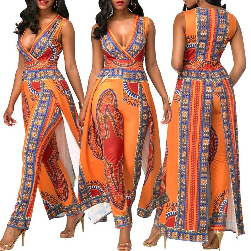 African Sexy Bohemian Party Dresses For Women Models Fashion Jumpsuit Bazin Riche Printing National Pants Dashiki Stage Costumes