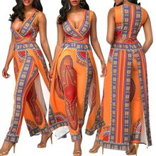 Afrikaanse Sexy Bohemian Party Jurken Voor Vrouwen Modellen Mode Jumpsuit Bazin Riche Afdrukken Nationale Broek Dashiki Stage Kostuums(China)