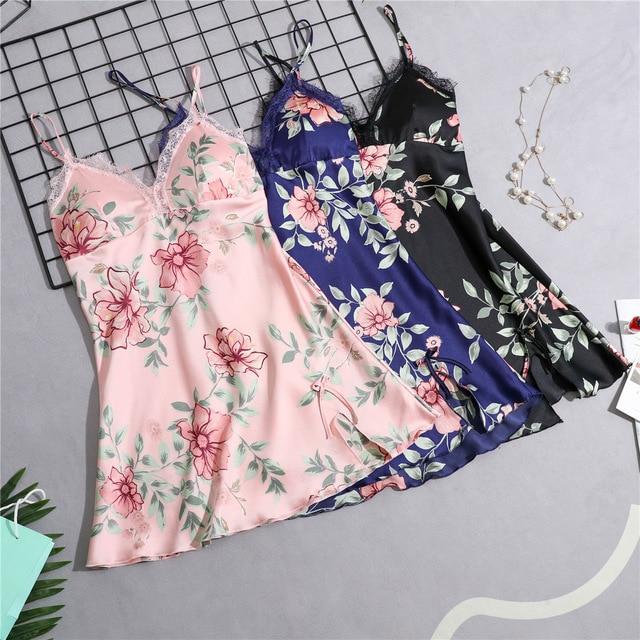 Ladies Floral Silk Satin Nightgown Lace Night Dress Sleeveless Nighties V-neck Sleepshirt Summer Sleep Dress Nightdres For Women