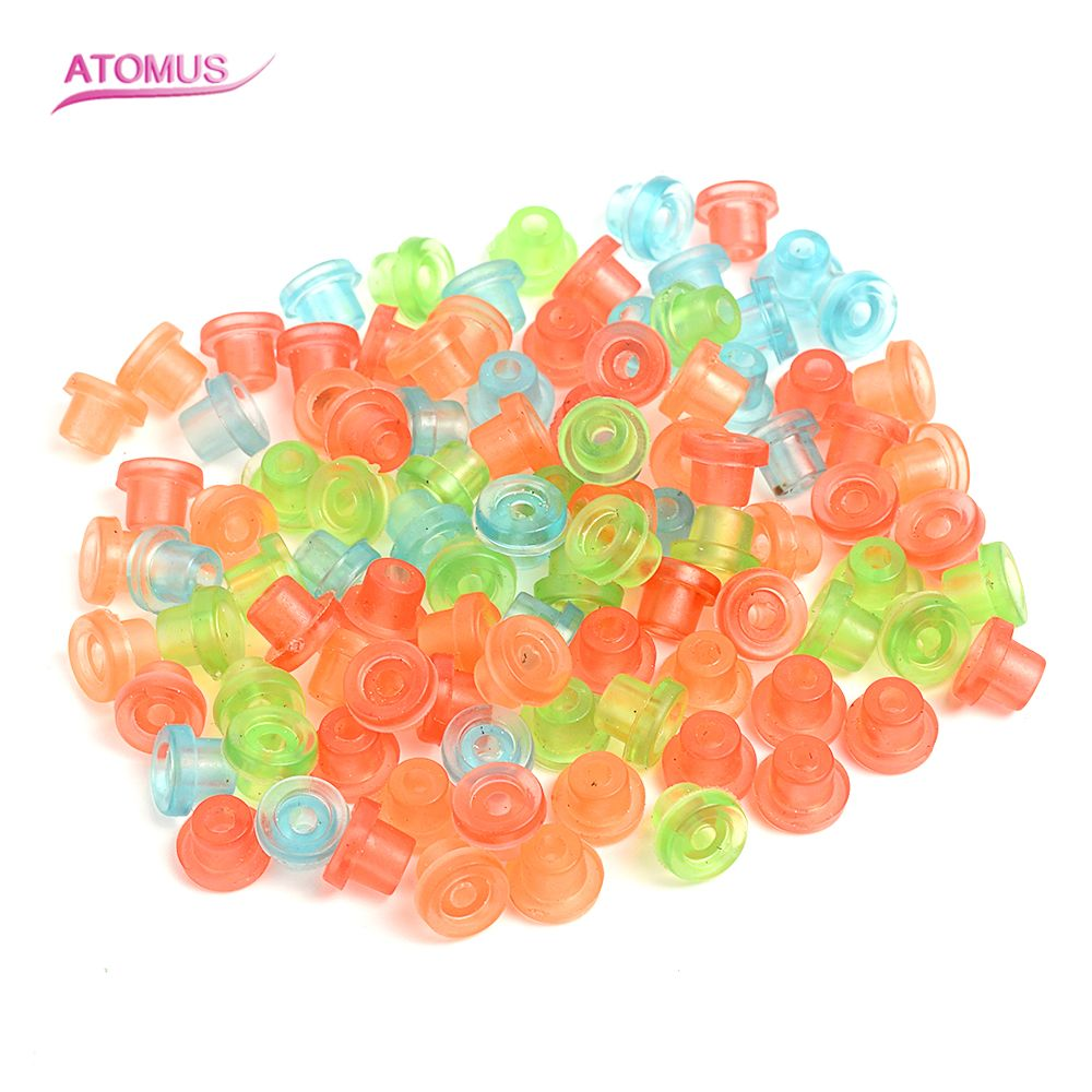 100Pcs/Bag Silicone Grommet Rubber Tattoo Machine 'T' Needle Pad Nipple Grommets Hat Body Art Accessory Tattoo Airbrush Needle