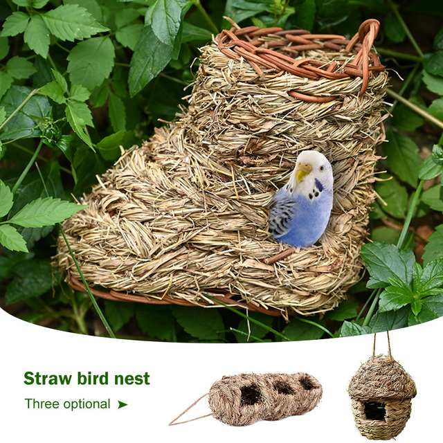 5 Styles Birds Nest Bird Cage Natural Grass Egg Cage Bird House Outdoor Decorative Weaved Hanging Parrot Nest Houses Pet Bedroom 4