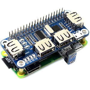 4 Ports USB HUB HAT For Raspberry Pi 3 / 2 / Zero W Extension Board USB To UART For Serial Debugging Compatible With USB2.0/1.0