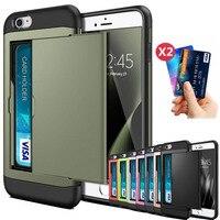 Voor Iphone Se 2 2020 7 8 Plus 6 6 S Plus 7Plus 8 Plus Slide Zaken Armor Portemonnee kaartsleuven Holder Cover Voor Iphone 5 5 S 7 + Funda