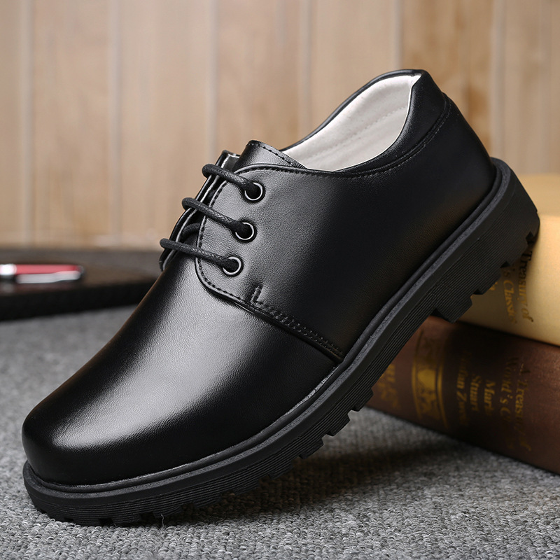 Black Leather School Shoes For Boys Lace Up Dress Shoes