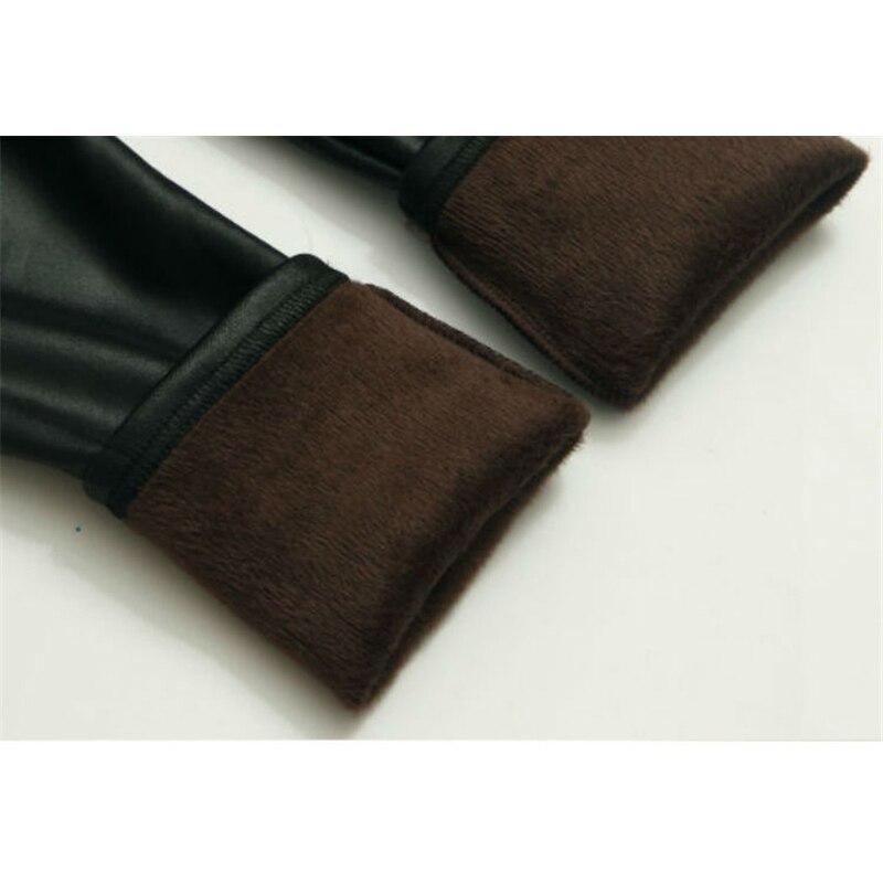Girls Faux PU Leather Leggings Winter Thick Fleece Lined Skinny Pants Cartoon Print Kids Stretchy Legging Black 6