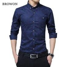 رائجة البيع موضة جديدة قميص رجالي عادية كم طويل جاكار نسج سليم صالح قميص الرجال القطن رجالي فستان قمصان الرجال الملابس 5XL
