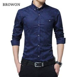 Image 1 - Hot Sale New Fashion Casual Men Shirt Long Sleeve Jacquard Weave Slim Fit Shirt Men Cotton Mens Dress Shirts Men Clothes 5XL