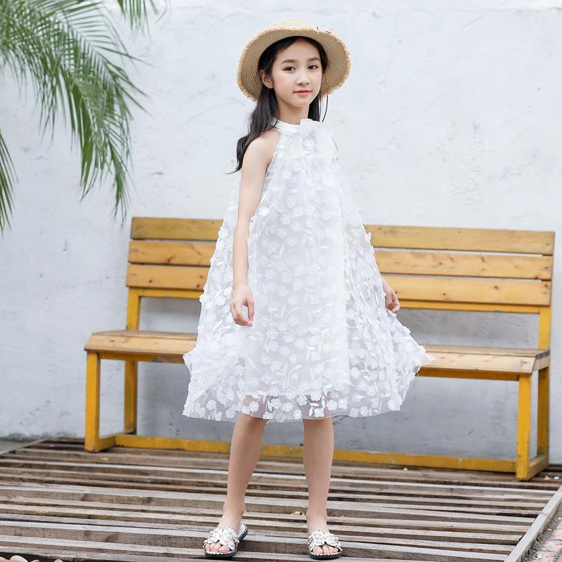 Flower girl dress summer lace mid-school kids halter strapless three-dimensional embroidery children's clothing