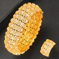 GODKI 2019 Charms Cubic Zircon All Over Full Bangle Ring 2PCS Jewelry Sets For Women Brand Nigerian Dubai Wedding Jewelry Sets
