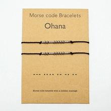 Morse кодовый браслет бусины из нержавеющей стали на шелковом