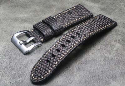 Top Quality Men Lizard Skin Watchbands Handmade 24mm Blue grey Retro Leather Watch band strap For panerai PAM Watch | Fotoflaco.net