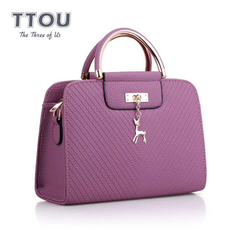 Casual Solid Basic Women Briefcase Deer Decor Large Capacity Shoulder Bags PU Leather Female Travel Shopping Tote Handbags