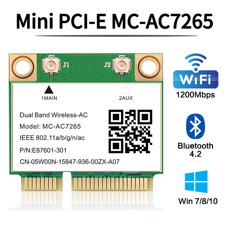 Dual Band 1200Mbps Wireless Card MC-AC7265 Bluetooth 4 2 Notebook Wlan Wifi Card Adapter 802 11ac 2 4G 5GHz Better 7260HMW pcie