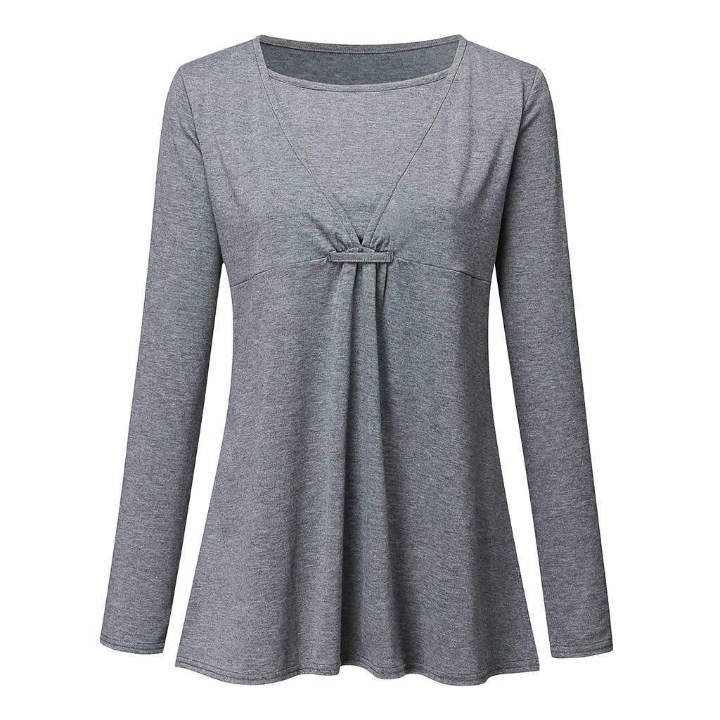 Odzież ciążowa ciąża bluzka ciążowa одежда для беременных na szyję z długim rękawem jednokolorowa bluza topy uwalnia statek Z4