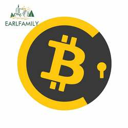 EARLFAMILY 13cm x 12.9cm For Lightning Bitcoin Car Styling Stickers Trunk Fine Decal Personality Creative Surfboard Campervan