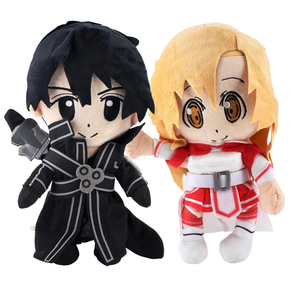25cm 2Styles Anime Sword Art Online Kirigaya Kazuto Kirito Asuna Plush Toy Soft Stuffed Dolls