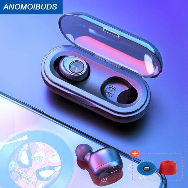 Anomoibuds كبسولة سماعات بلوتوث 5.0 سماعات TWS سماعات لاسلكية يدوي سماعة أذن رياضية