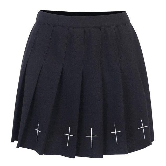 InsGoth High Waist Mini Black Skirts   5