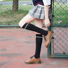 2019 Autumn And Winter New Products Cotton Stripe Girl Woman Stockings Japanese Sweet College Style COS Student Calf A