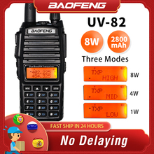 цена на 8W Dual Band Walkie Talkie 10km Baofeng UV-82 FM Transceiver Portable CB Ham Radio 128CH VHF/UHF UV 82 Two Way Radio 2800mAh