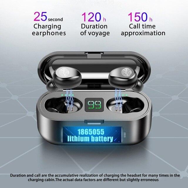 Wodoodporny wyświetlacz LED baterii dousznej bezprzewodowe słuchawki Bluetooth 5.0 F9 TWS z 2000mAh Power Bank Touch Control basowy zestaw słuchawkowy
