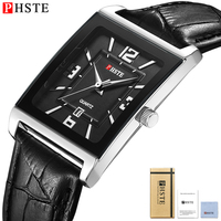 PHSTE Luxury Mens Watches Date Japan Movt Square Quartz Men Waterproof Calfskin Black Leather Band Wrist Watch Relogio Masculino