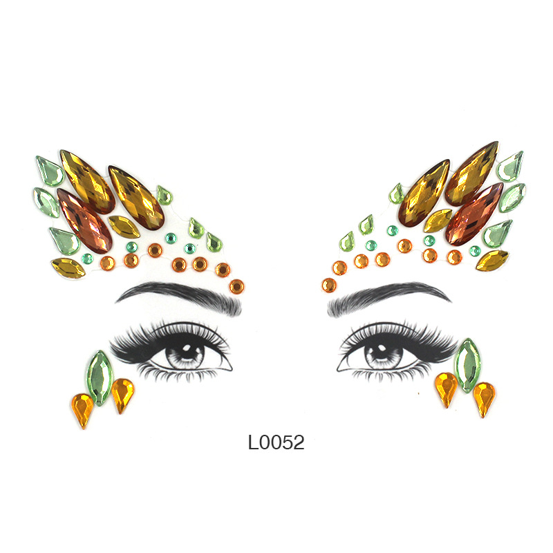 Eye Glitter Rhinestone Temporary Tattoo Stickers Body Face Jewel Party Makeup Tatoo Face Crystal Stickers For Woman Girls Stick. (2)