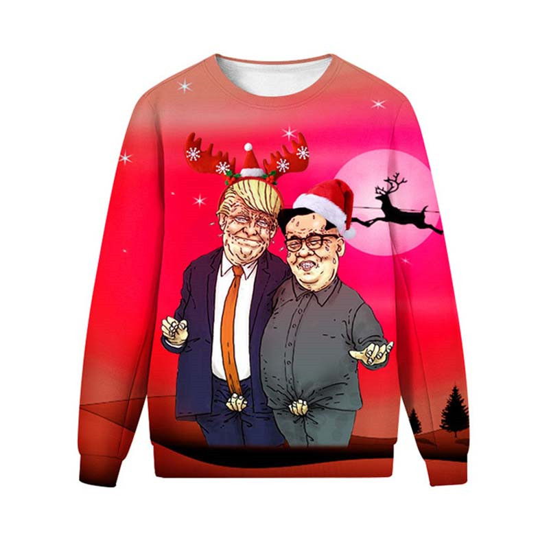 New Funny Ugly Christmas Sweater Donald Trump 3D Unisex Men Women Vacation Pullover Sweaters Jumpers Novelty Christmas Sweater