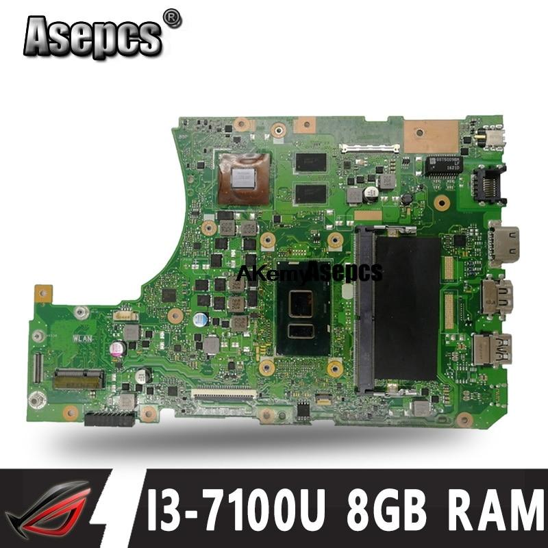 Asepcs с 8 Гб оперативной памяти I3-7100U процессор X556UQK Материнская плата Asus X556UV X556U X556UQK X556UQ Материнская плата ноутбука протестированная Рабочая