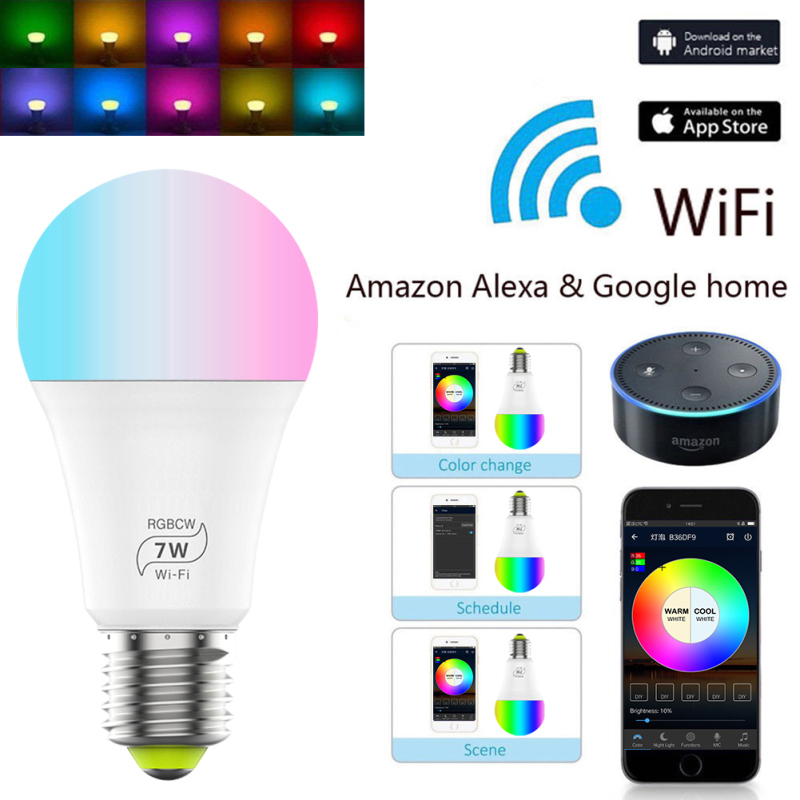New Wireless Smart WiFi Light Bulb Led Lamp 7W RGB E27 Wake-Up Warm Lights Work With Alexa Google Home Lights 1pcs