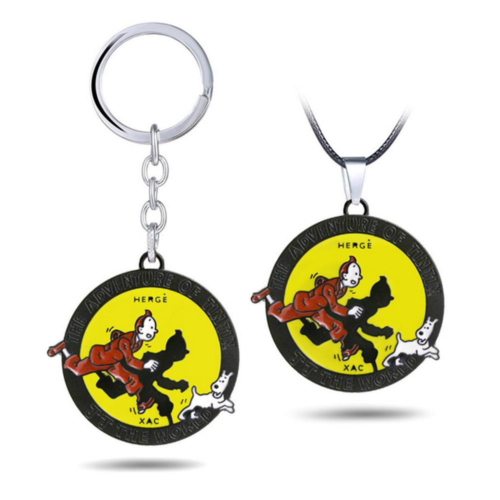 Vogue The Adventures Of Tintin Milou Snowy From Herge Classic Comic Anime Figure Model Toys Key Chain Necklace