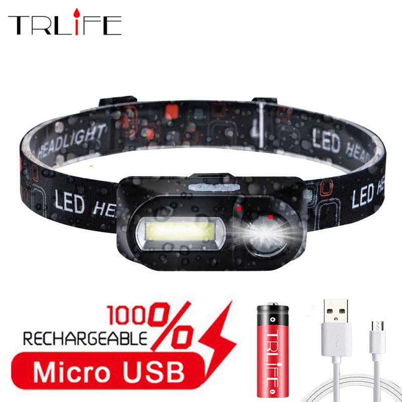 Mini Headlamp Waterproof USB COB+XPE Head Light 6 Modes Night Running Rechargeable Portable Camping Lamp Use 18650 Battery
