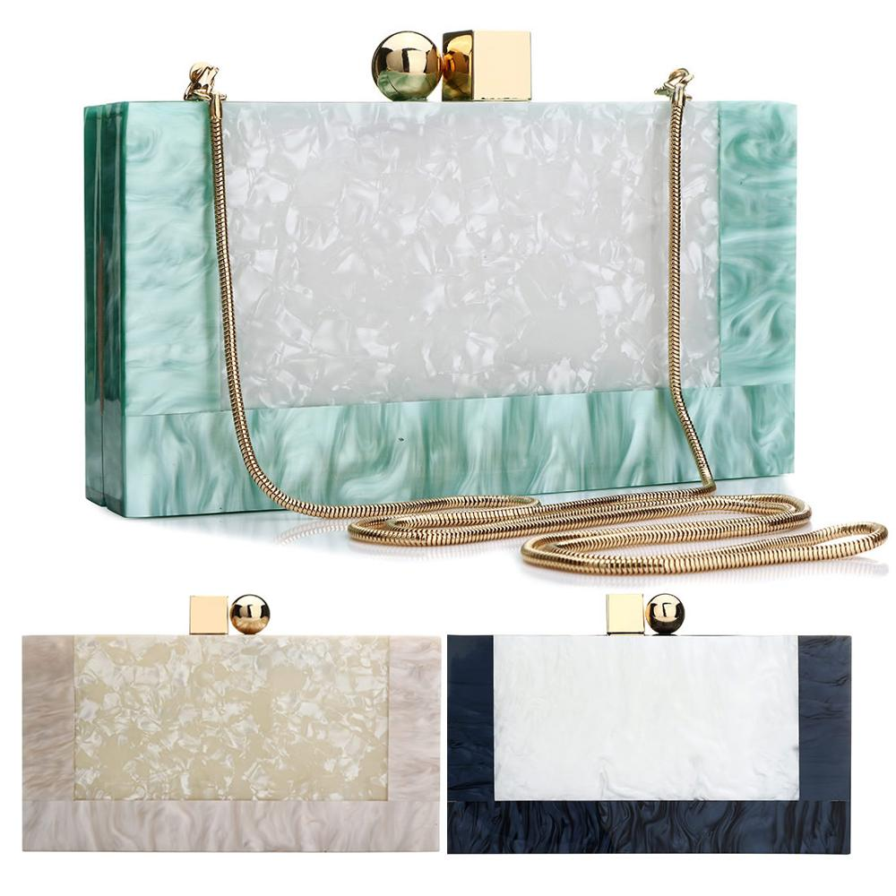 Contrast Color Acrylic Box Bags Hard Surface Women Elegant Shoulder Bags Rectangle Clutches Wedding Fashion Party Purse title=