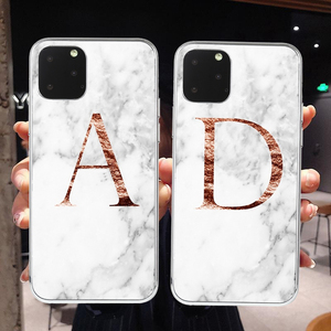 Letter Monogram A B C D white marble Soft TPU Phone Case For iphone 11 Pro Max For Samsung Galaxy S10 A10 A30 A50 2019 Cover(China)