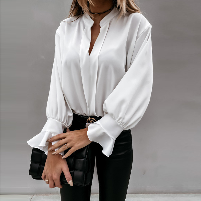 2020 Autumn Winter Ruffles Women Shirt Blouse Long Sleeve V-Neck Tops Shirts Lady Flared Sleeves Blouses Female Loose Top Blusa 8