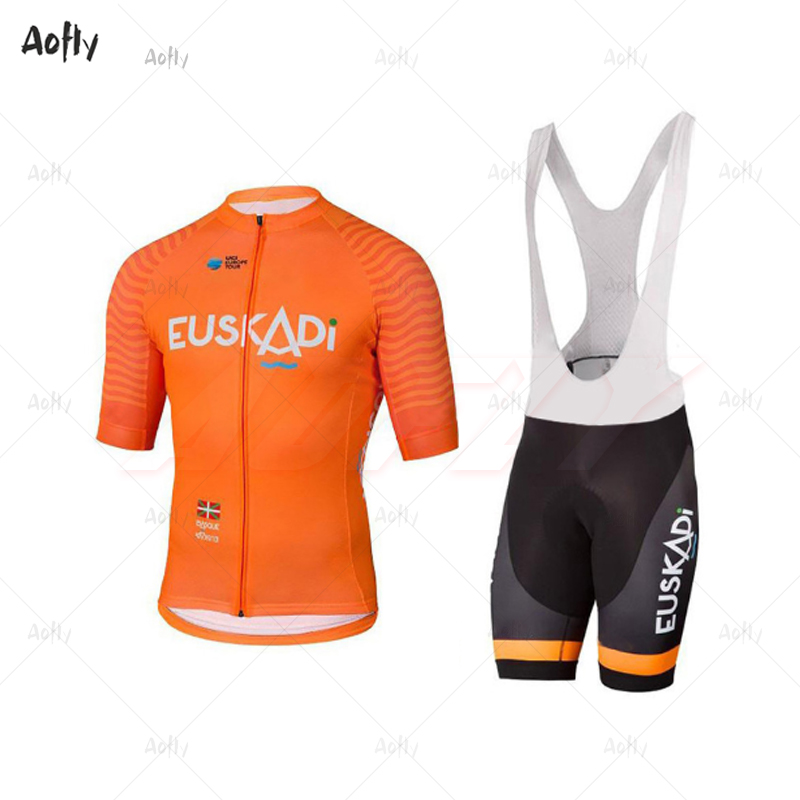 Orange EUSKADI Man's Short Sleeve Cycling Jersey Sets Bicycle Clothing Ropa Ciclismo Hombre Summer Go Pro MTB Bike 9d Bib Shorts