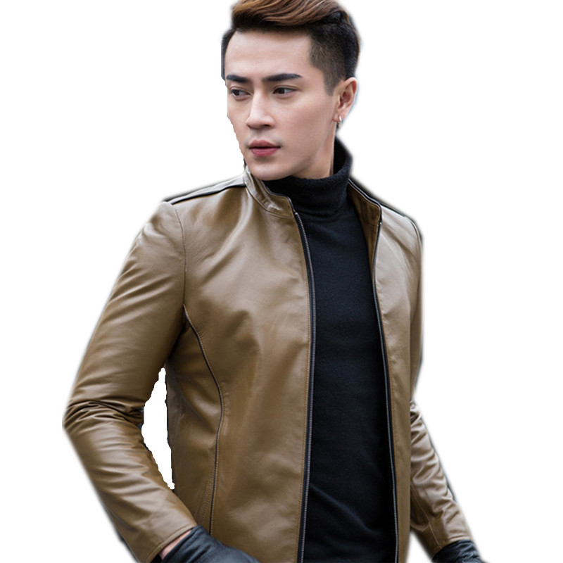 Leather Male Jacket Motorcycle Mens Sheepskin Coat Genuine Leather Jackets Men's Leather Jacket Jaqueta De Couro WXF047 S
