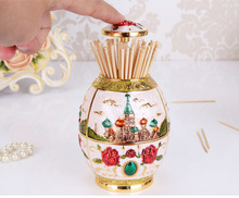 European Style Zinc Alloy Creative Toothpick Box Vintage Automatic Holder Dispenser Organizer For Home