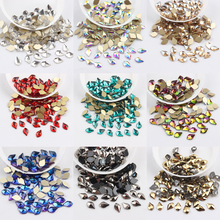 30 шт./лот Стекло Нейл-арт, стразы груша 10 видов стилей разноцветные камни для дизайна ногтей подвеска с прозрачными стразами 3d-украшения для ногтей