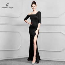 Prom-Gowns Evening-Dress One-Shoulder Robe Longue Mermaid Formal Elegant Vintage Women