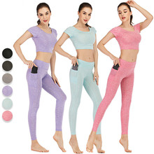 Yoga Suits With Pockets Woman Sports Twinset 2019 Women Wear Gym Fitness Training Outfits for Bra Pants