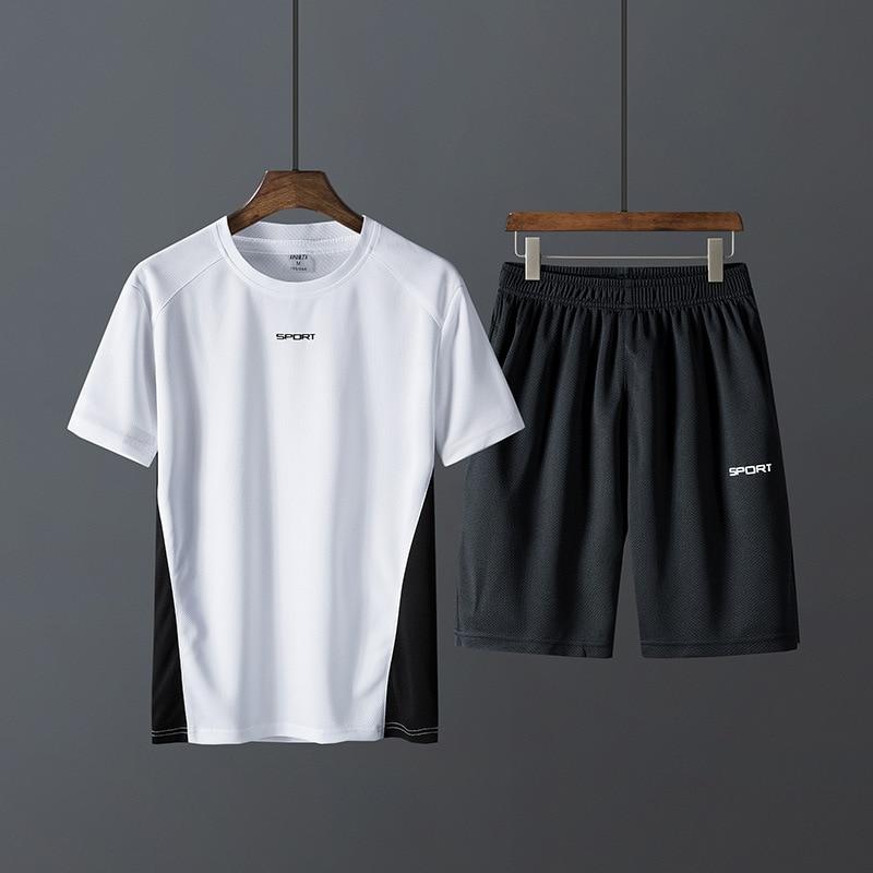 T-shirt Shorts MEN'S Sport Suit Summer Thin Section Couples Quick-Dry Gym Jogging Suits Trend Two-Piece Set