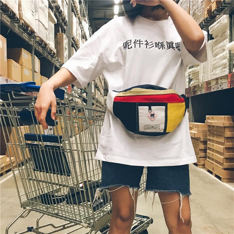 Chic Street Couple Shoulder Bag Popular Panelled Vintage Chest Bag Fashion All-match  Messenger Bag Men And Women Waist Bag