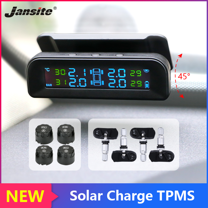 Jansite TPMS Car Alarm Tire Pressure sensor Monitoring control System Attached to glass wireless Solar power tpms with 4 sensors