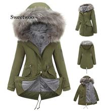 S-XXL Women's Down Jacket Casual Cotton Women's Winter Jacket Hoodie Long Parkas Women Fur Collar Warm Female Jacket Coat