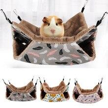 Hamster morno hamster hammock pendurado cama casa inverno pequeno animal esquilo cobaia dupla camada de pelúcia ninho de algodão suprimentos para animais de estimação