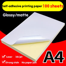 Papier A4 pour imprimante Laser à jet d'encre, papier artisanal, autocollant, étiquette autocollante, mat, brillant, plus épais, pâte de bois imprimable, 100
